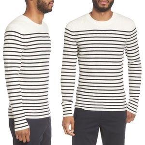 Vince Bretton Stripe Cashmere Crew Sweater Cream B